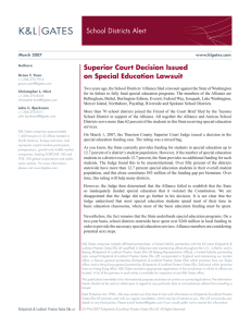 School Districts Alert Superior Court Decision Issued on Special Education Lawsuit