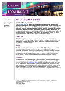 Ban on Corporate Directors