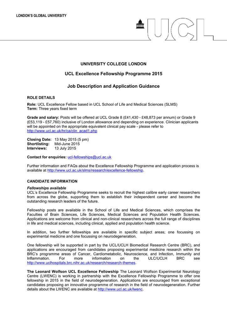 UCL Excellence Fellowship Programme 2015 Job Description and
