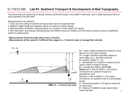 Lab #1: Sediment Transport & Development of Bed Topography