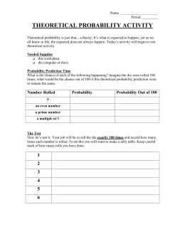 THEORETICAL PROBABILITY ACTIVITY