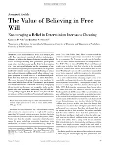 The Value of Believing in Free Will Research Article