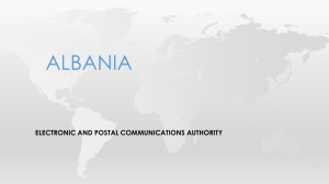 ALBANIA  ELECTRONIC AND POSTAL COMMUNICATIONS AUTHORITY
