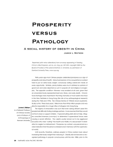 Prosperity versus Pathology A social history of obesity in China
