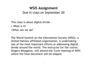 WSIS Assignment Due in class on September 20