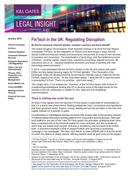 FinTech in the UK: Regulating Disruption