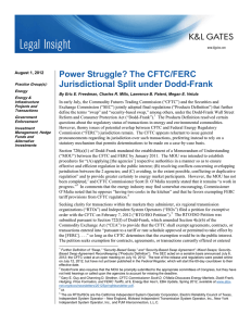 Power Struggle? The CFTC/FERC Jurisdictional Split under Dodd-Frank