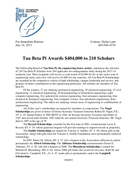4,000 to 210 Scholars Tau Beta Pi Awards $40 For Immediate Release