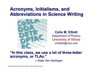 Acronyms, Initialisms , and Abbreviations in Science Writing