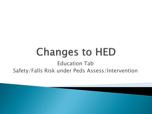 Education Tab Safety/Falls Risk under Peds Assess/Intervention