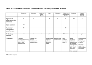 – Faculty of Social Studies TABLE 3: Student Evaluation Questionnaires