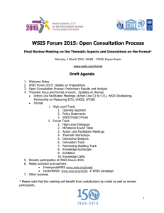 WSIS Forum 2015: Open Consultation Process Draft Agenda
