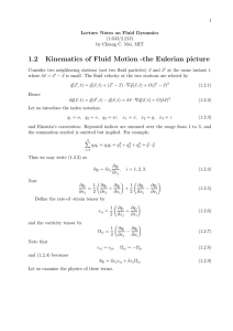 1.2 Kinematics of Fluid Motion -the Eulerian picture