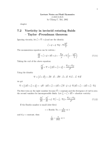 7.2 Vorticity in inviscid rotating fluids – Taylor -Proudman theorem