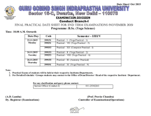 Conduct Branch-I Programme: B.Sc. (Yoga Science) Semester – I/III/V