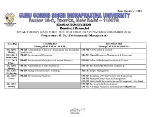 Conduct Branch-I Programme: M. Sc. (Environmental Management) Date Sheet/ Oct 2015