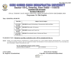 Conduct Branch-I Programme: M. Phil (English) Date Sheet/Oct 2015