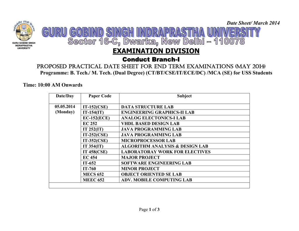 Proposed PRACTICAL Date Sheet for End Term Examinations (MAY