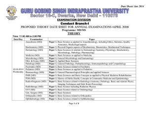 Proposed THEORY Date Sheet for ANNUAL Examinations (APRIl 2014) for Programme: MD/MS