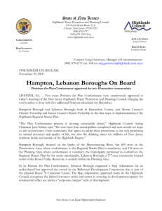 Hampton, Lebanon Boroughs On Board State of New Jersey