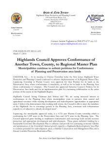 Highlands Council Approves Conformance of State of New Jersey