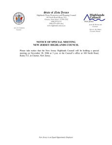 State of New Jersey NOTICE OF SPECIAL MEETING NEW JERSEY HIGHLANDS COUNCIL