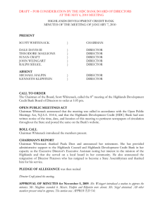 DRAFT – FOR CONSIDERATION BY THE HDC BANK BOARD OF...  AT THE MAY 6, 2010 MEETING HIGHLANDS DEVELOPMENT CREDIT BANK