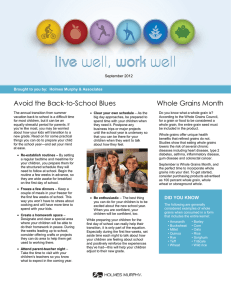Avoid the Back-to-School Blues Whole Grains Month September 2012