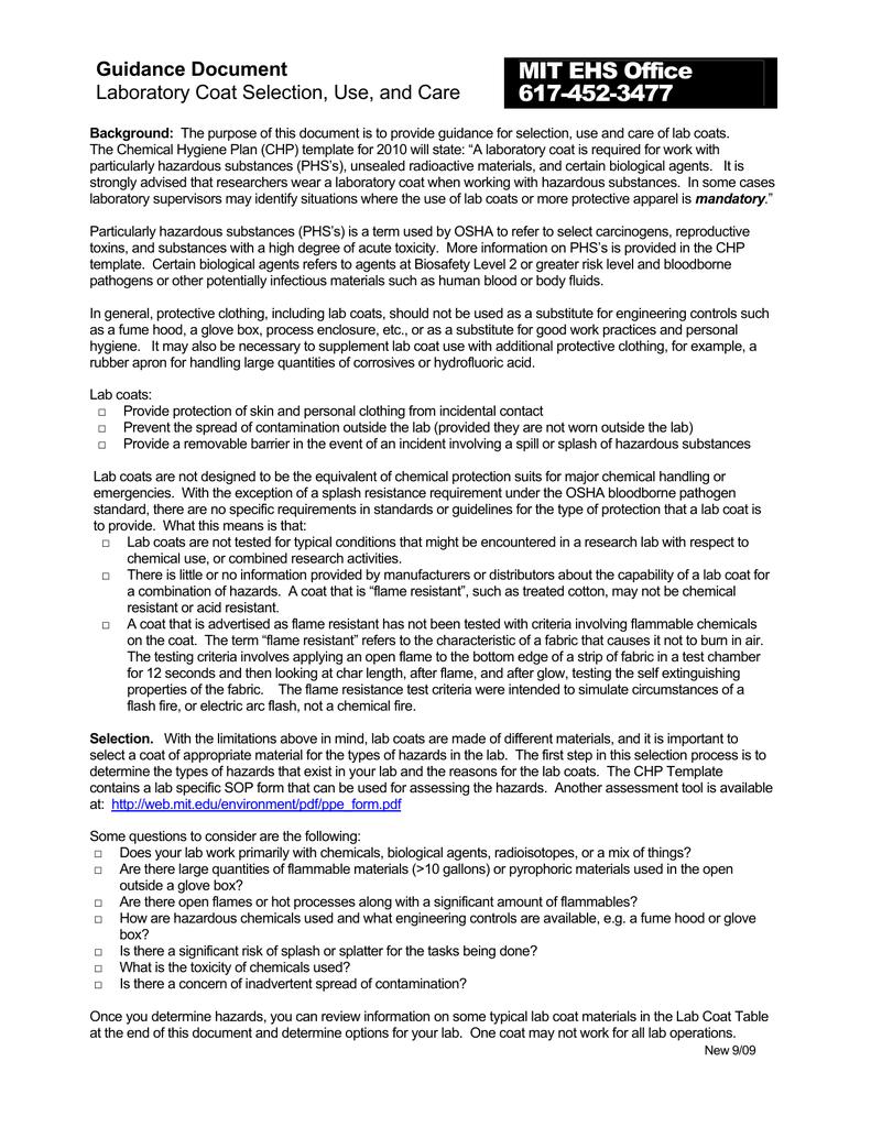 MIT EHS Office 617 452 3477 Guidance Document