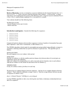 Biological Computation 20.181 Homework 1 Review of Recursion.
