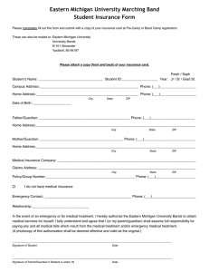 Eastern Michigan University Marching Band Student Insurance Form