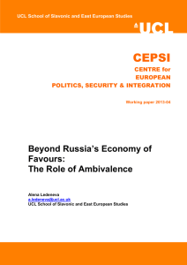 CEPSI  Beyond Russia's Economy of Favours: