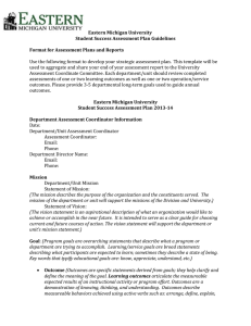 Eastern Michigan University Student Success Assessment Plan Guidelines