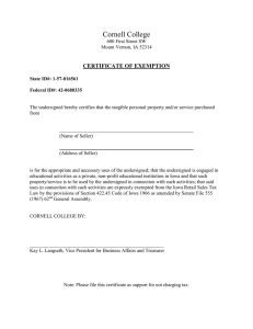Cornell College  CERTIFICATE OF EXEMPTION