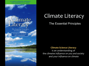 Climate Literacy The Essential Principles Climate Science Literacy is an understanding of