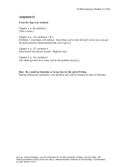 24.960 Syntactic Models 2/13/06 Chapter 3, p. 88, problem 1.