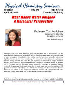 What Makes Water Unique? A Molecular Perspective Professor Toshiko Ichiye