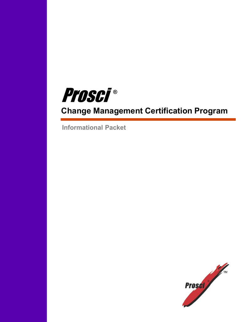 prosci change management certification program informational packet