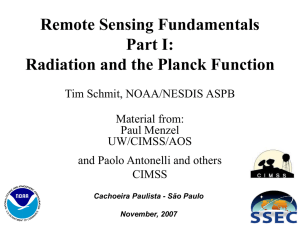 Remote Sensing Fundamentals Part I: Radiation and the Planck Function