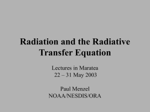 Radiation and the Radiative Transfer Equation Lectures in Maratea