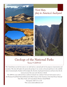 Geology of the National Parks Next May, play in America's backyard