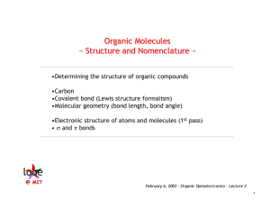 Organic Molecules ~ Structure and Nomenclature ~