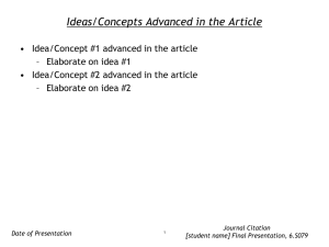 Ideas/Concepts Advanced in the Article