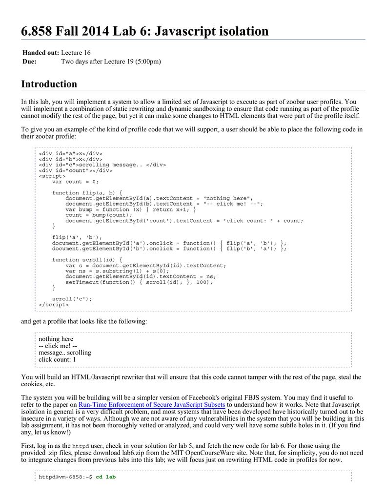 6 858 Fall 2014 Lab 6: Javascript isolation Introduction