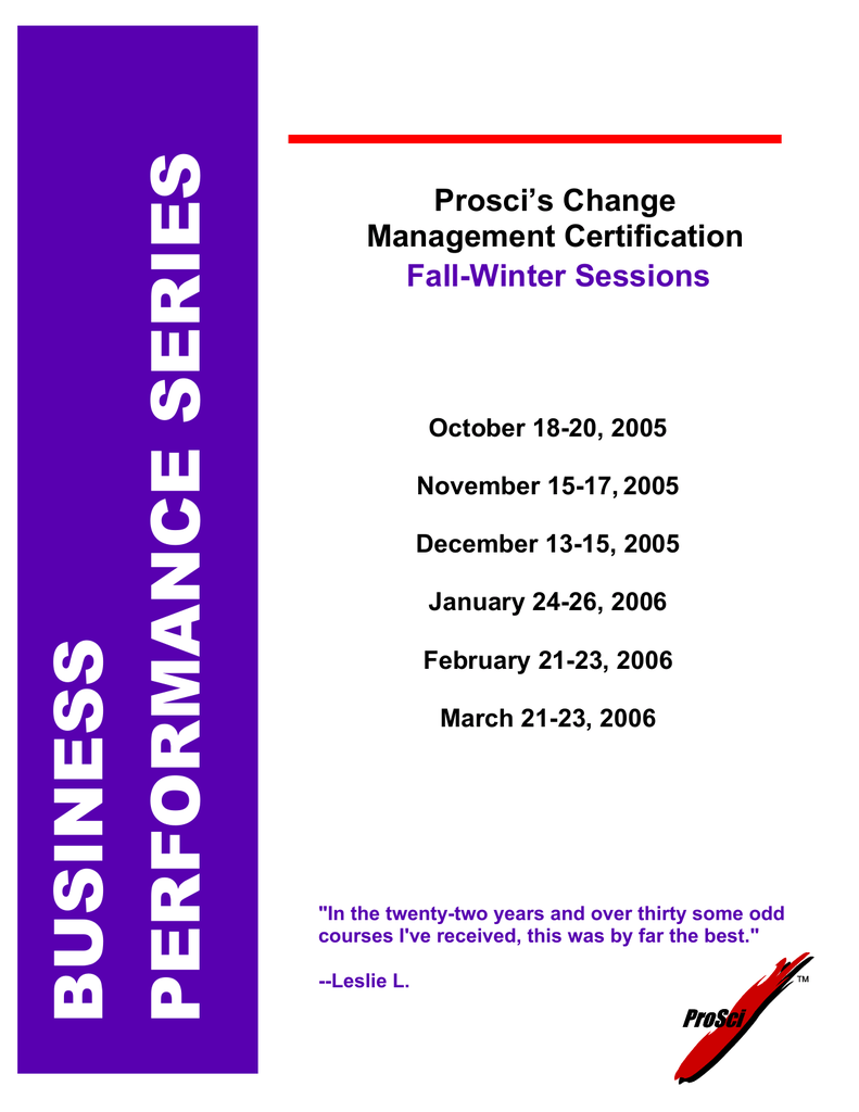 Prosci's Change Management Certification Fall-Winter Sessions