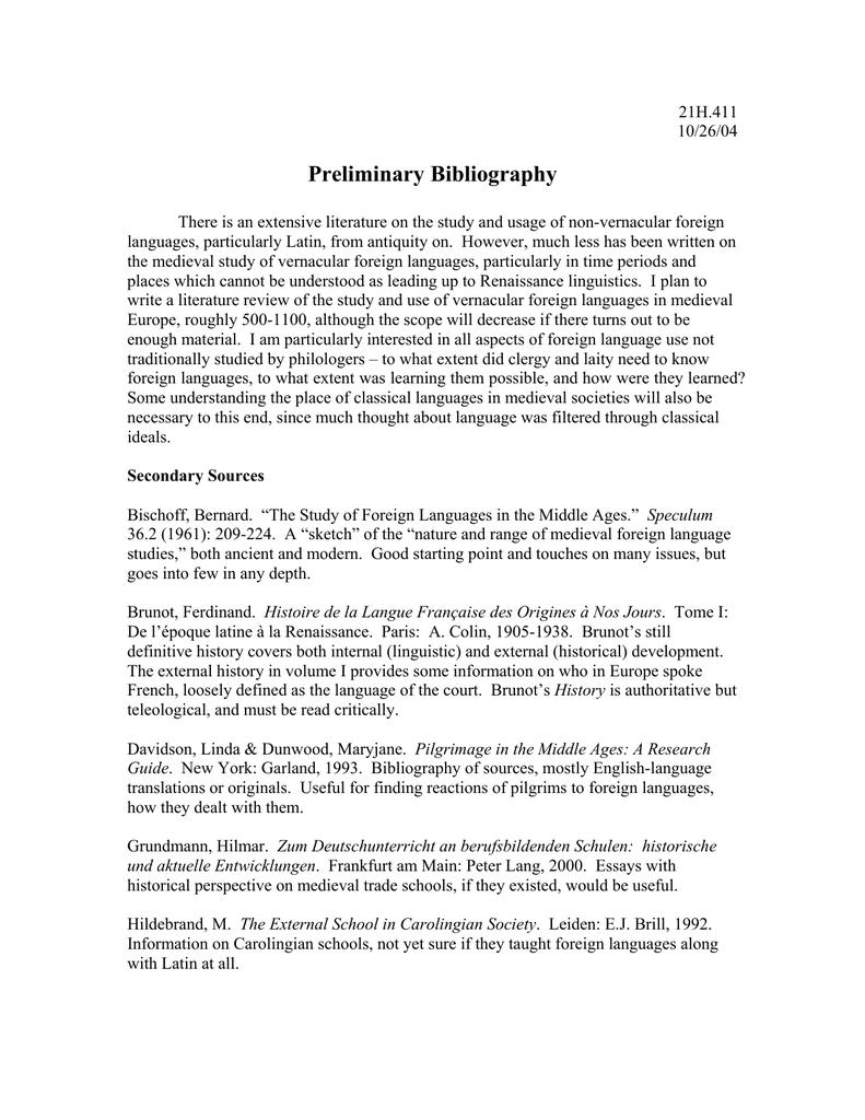 Preliminary Bibliography