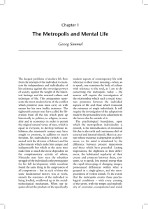 The Metropolis and Mental Life Chapter 1 Georg Simmel