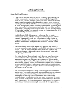 Sarah Brouillette's Guide to Close Reading  Some Guiding Thoughts