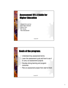 Assessment 101: A Guide for Higher Education Goals of the program: