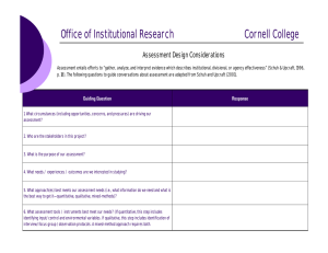 Office of Institutional Research Cornell College Assessment Design Considerations